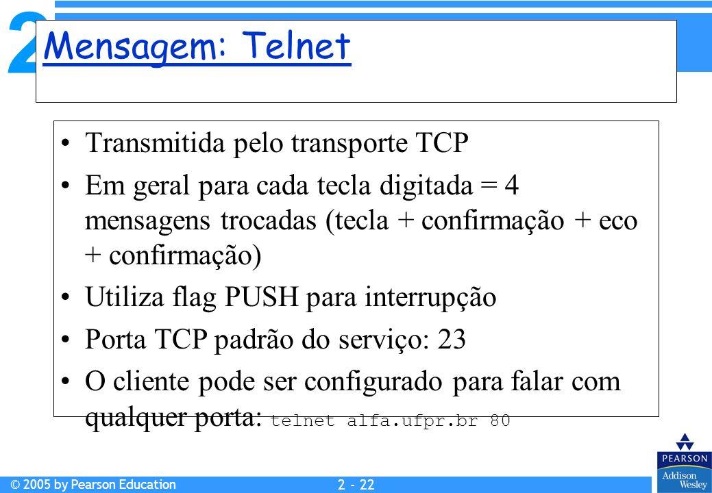 2 © 2005 by Pearson Education 2 - 22 Mensagem: Telnet Transmitida pelo transporte TCP Em geral para cada tecla digitada = 4 mensagens trocadas (tecla