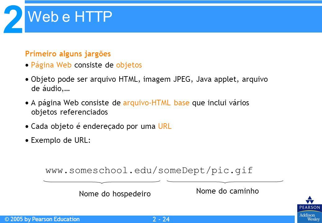 2 © 2005 by Pearson Education 2 - 24 Primeiro alguns jargões Página Web consiste de objetos Objeto pode ser arquivo HTML, imagem JPEG, Java applet, ar