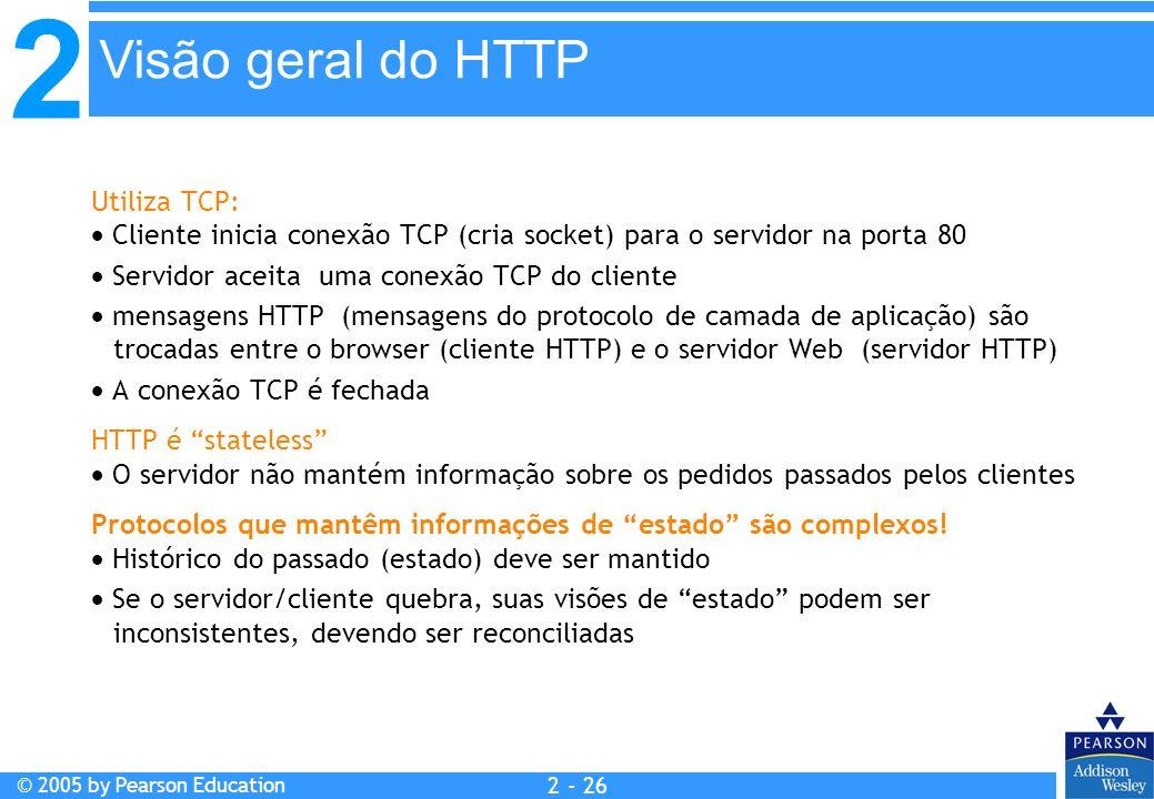 2 © 2005 by Pearson Education 2 - 26 Utiliza TCP: Cliente inicia conexão TCP (cria socket) para o servidor na porta 80 Servidor aceita uma conexão TCP