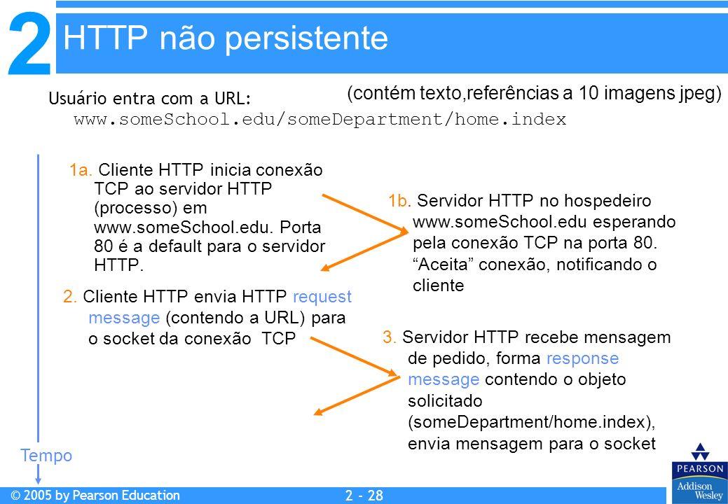 2 © 2005 by Pearson Education 2 - 28 Usuário entra com a URL: www.someSchool.edu/someDepartment/home.index 1a. Cliente HTTP inicia conexão TCP ao serv