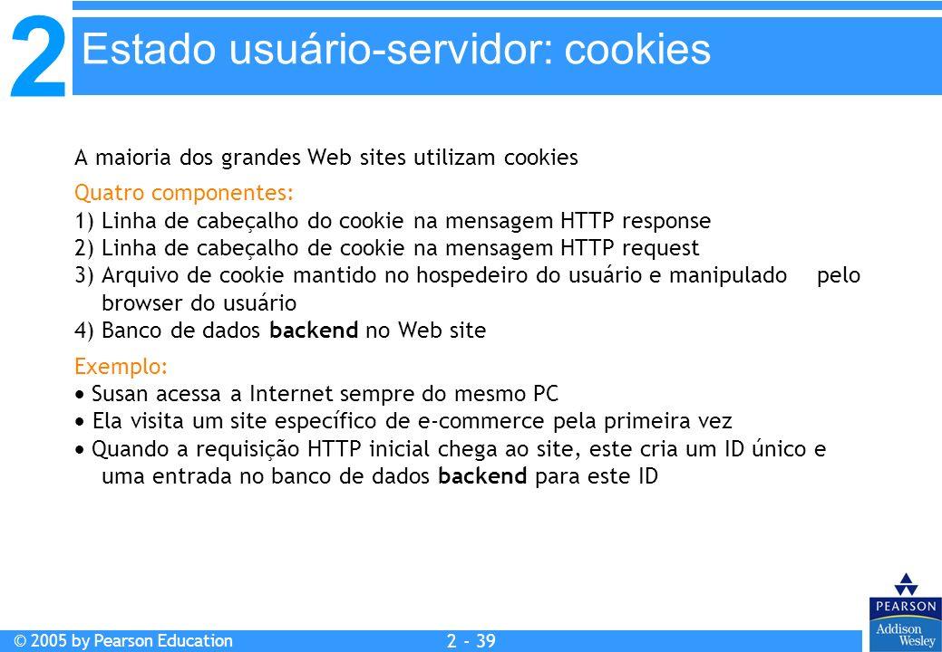2 © 2005 by Pearson Education 2 - 39 A maioria dos grandes Web sites utilizam cookies Quatro componentes: 1) Linha de cabeçalho do cookie na mensagem