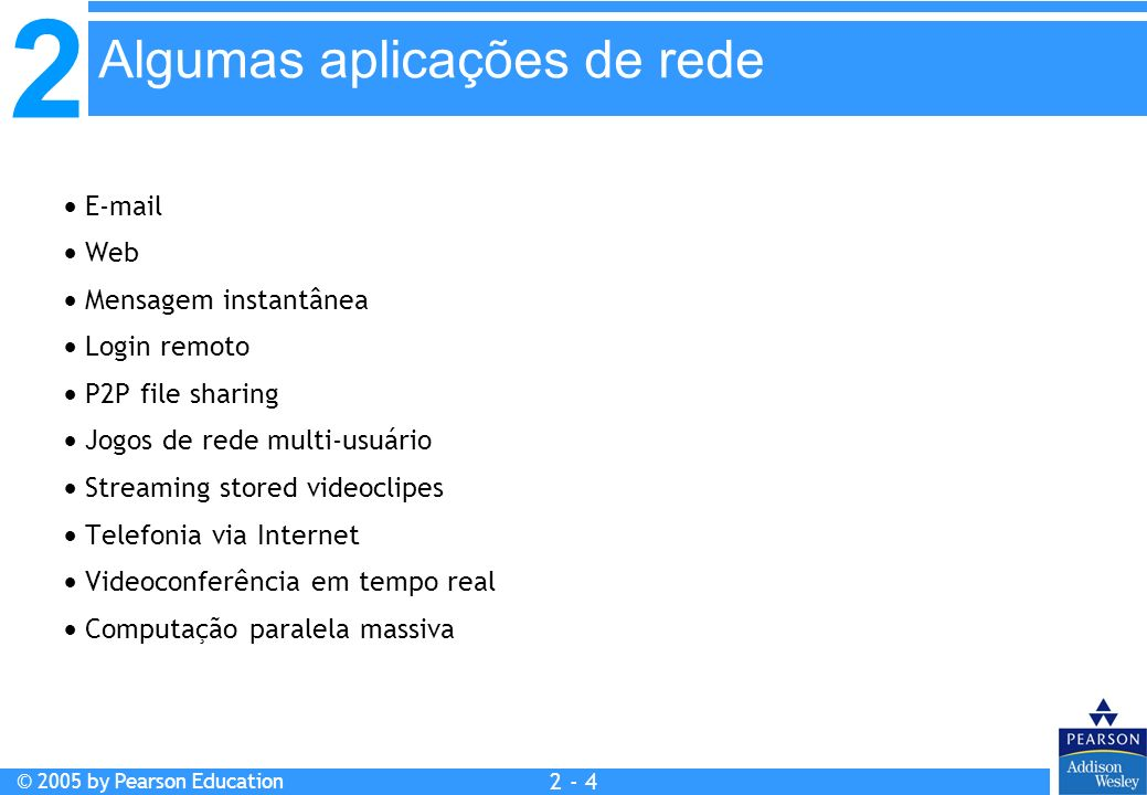 2 © 2005 by Pearson Education 2 - 4 E-mail Web Mensagem instantânea Login remoto P2P file sharing Jogos de rede multi-usuário Streaming stored videocl