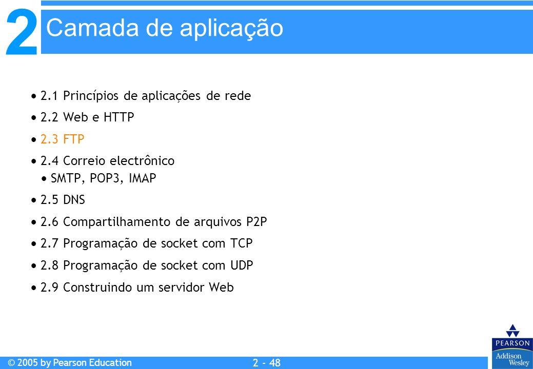 2 © 2005 by Pearson Education 2 - 48 2.1 Princípios de aplicações de rede 2.2 Web e HTTP 2.3 FTP 2.4 Correio electrônico SMTP, POP3, IMAP 2.5 DNS 2.6