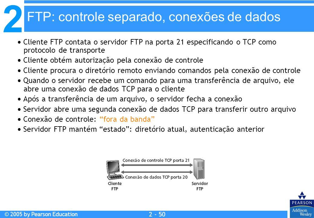 2 © 2005 by Pearson Education 2 - 50 Cliente FTP contata o servidor FTP na porta 21 especificando o TCP como protocolo de transporte Cliente obtém aut