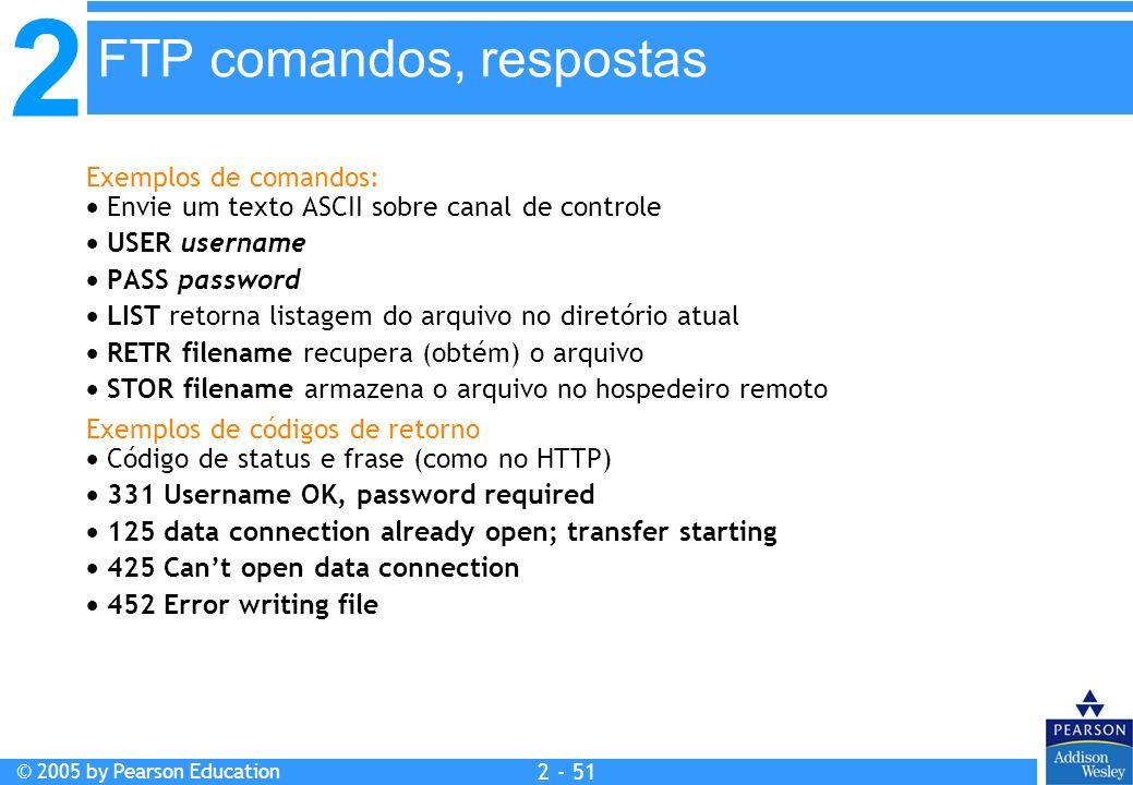 2 © 2005 by Pearson Education 2 - 51 Exemplos de comandos: Envie um texto ASCII sobre canal de controle USER username PASS password LIST retorna lista