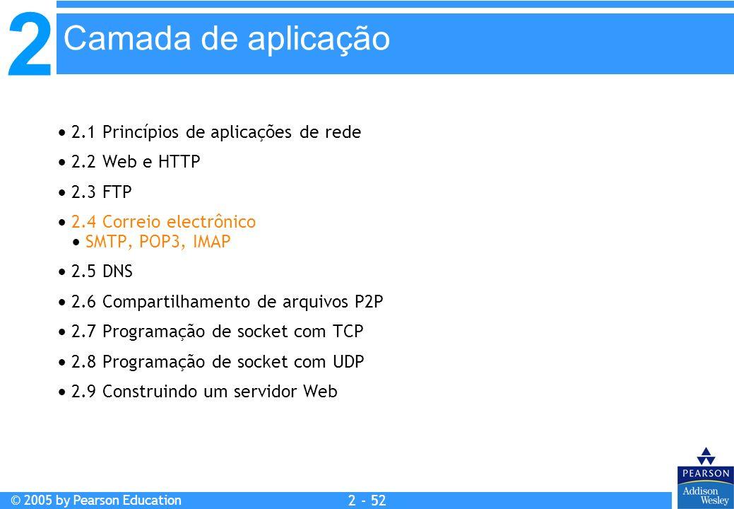 2 © 2005 by Pearson Education 2 - 52 2.1 Princípios de aplicações de rede 2.2 Web e HTTP 2.3 FTP 2.4 Correio electrônico SMTP, POP3, IMAP 2.5 DNS 2.6