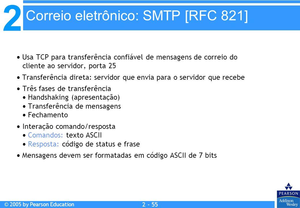 2 © 2005 by Pearson Education 2 - 55 Correio eletrônico: SMTP [RFC 821] Usa TCP para transferência confiável de mensagens de correio do cliente ao ser