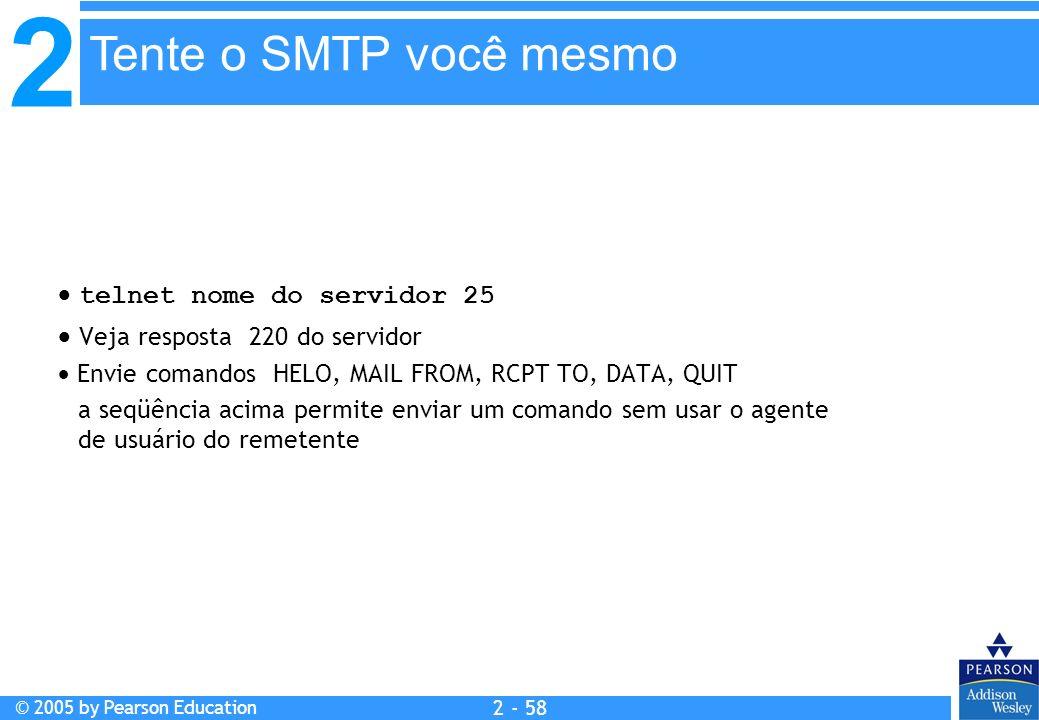 2 © 2005 by Pearson Education 2 - 58 telnet nome do servidor 25 Veja resposta 220 do servidor Envie comandos HELO, MAIL FROM, RCPT TO, DATA, QUIT a se