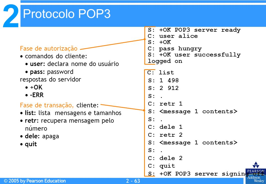2 © 2005 by Pearson Education 2 - 63 Fase de autorização comandos do cliente: user: declara nome do usuário pass: password respostas do servidor +OK -