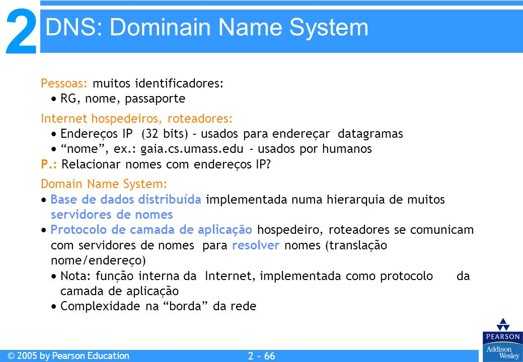 2 © 2005 by Pearson Education 2 - 66 Pessoas: muitos identificadores: RG, nome, passaporte Internet hospedeiros, roteadores: Endereços IP (32 bits) -