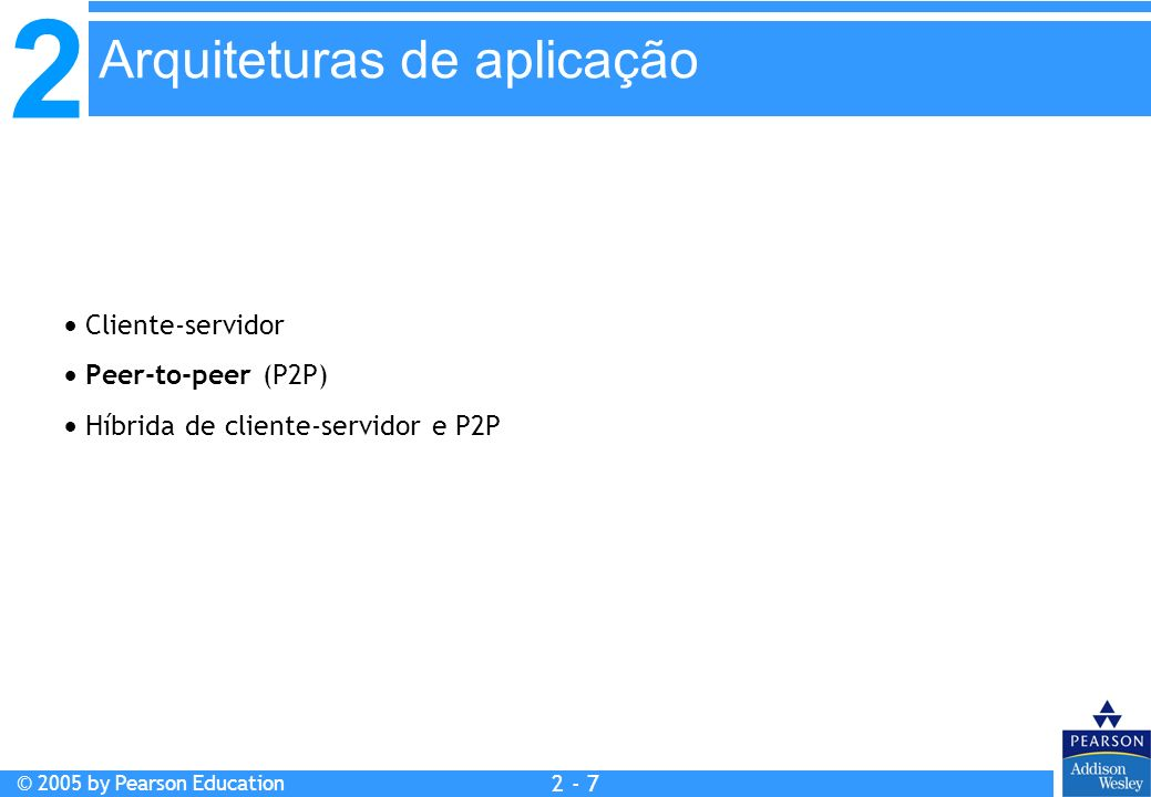 2 © 2005 by Pearson Education 2 - 18 Aplicação e-mail acesso de terminais remotos Web transferência de arquivos streaming multimídia servidor de arquivos remoto telefonia Internet Protocolo de aplicação smtp [RFC 821] telnet [RFC 854] http [RFC 2068] ftp [RFC 959] RTP ou proprietário (ex.: RealNetworks) NSF RTP ou proprietário (ex.: Vocaltec) Protocolo de transporte TCP TCP ou UDP tipicamente UDP Aplicação e protocolos de transporte da Internet
