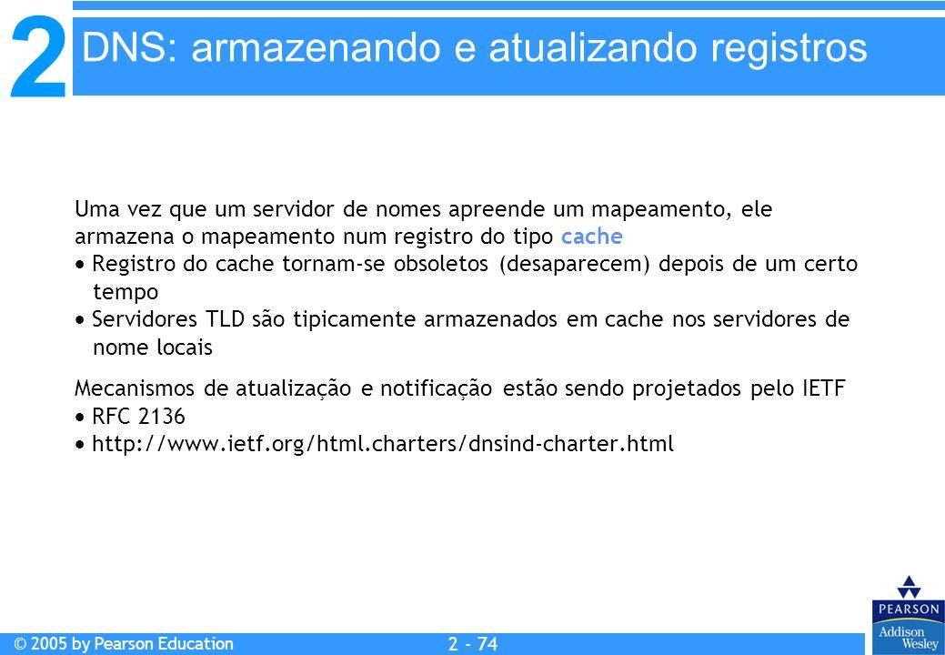 2 © 2005 by Pearson Education 2 - 74 Uma vez que um servidor de nomes apreende um mapeamento, ele armazena o mapeamento num registro do tipo cache Reg