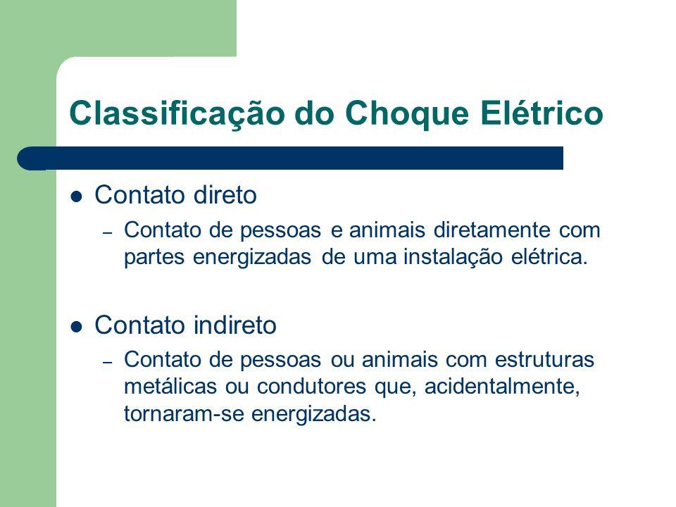Efeito da Corrente Elétrica O efeito da corrente depende: – Intensidade da corrente; – Tempo de exposição; – Percurso através do corpo humano; – Condições orgânicas do indivíduo.