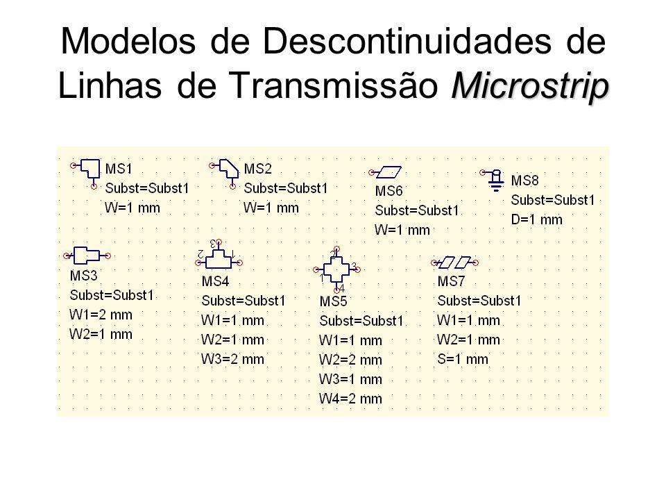 Microstrip Modelos de Descontinuidades de Linhas de Transmissão Microstrip