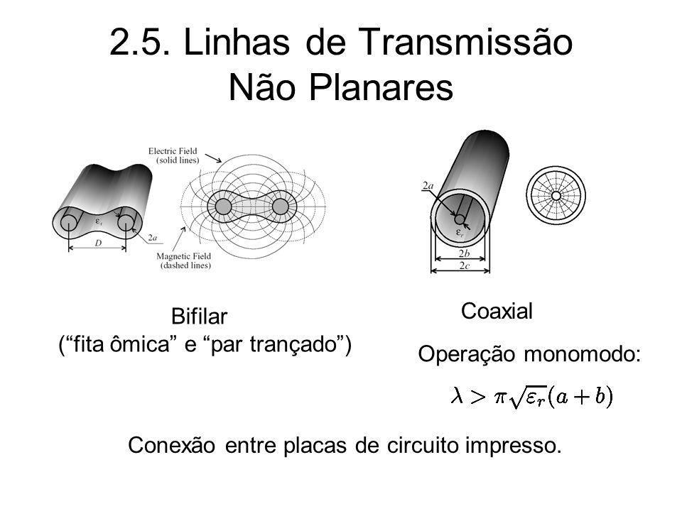 2.5. Linhas de Transmissão Não Planares Bifilar (fita ômica e par trançado) Coaxial Conexão entre placas de circuito impresso. Operação monomodo: