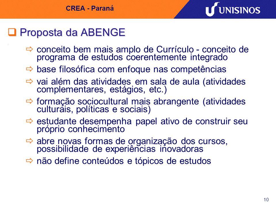 10 CREA - Paraná Proposta da ABENGE Proposta da ABENGE conceito bem mais amplo de Currículo - conceito de programa de estudos coerentemente integrado
