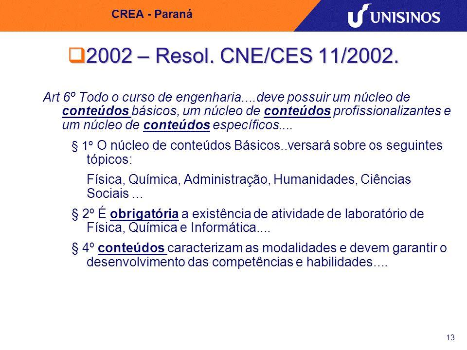 13 CREA - Paraná 2002 – Resol. CNE/CES 11/2002. 2002 – Resol. CNE/CES 11/2002. Art 6º Todo o curso de engenharia....deve possuir um núcleo de conteúdo