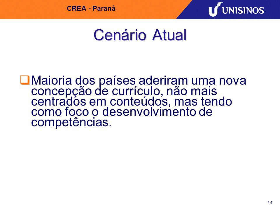 14 CREA - Paraná Cenário Atual Maioria dos países aderiram uma nova concepção de currículo, não mais centrados em conteúdos, mas tendo como foco o des