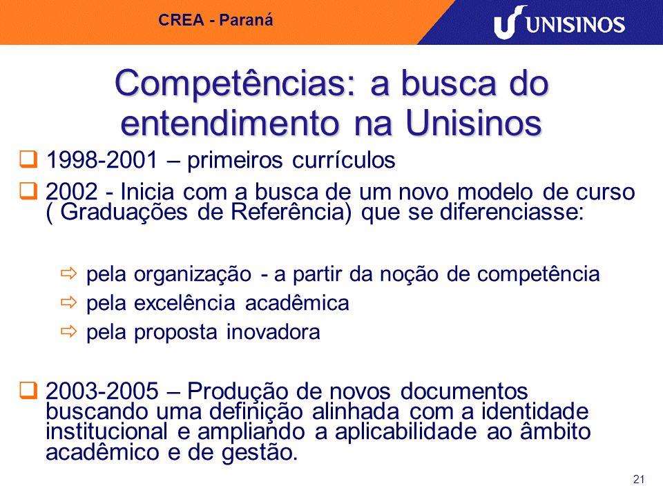 21 CREA - Paraná Competências: a busca do entendimento na Unisinos 1998-2001 – primeiros currículos 2002 - Inicia com a busca de um novo modelo de cur