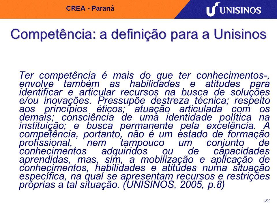 22 CREA - Paraná Competência: a definição para a Unisinos Ter competência é mais do que ter conhecimentos-, envolve também as habilidades e atitudes p