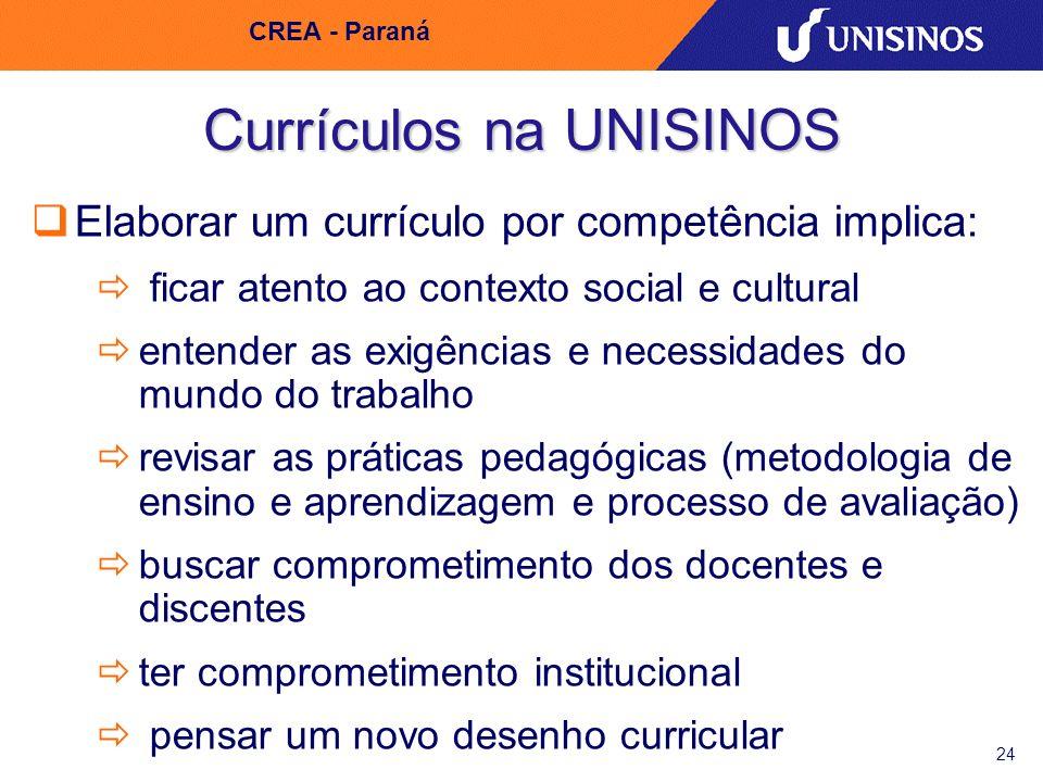 24 CREA - Paraná Currículos na UNISINOS Elaborar um currículo por competência implica: ficar atento ao contexto social e cultural entender as exigênci