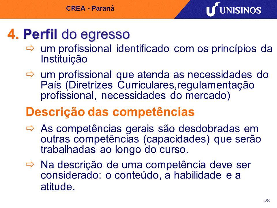 28 CREA - Paraná 4. Perfil do egresso um profissional identificado com os princípios da Instituição um profissional que atenda as necessidades do País