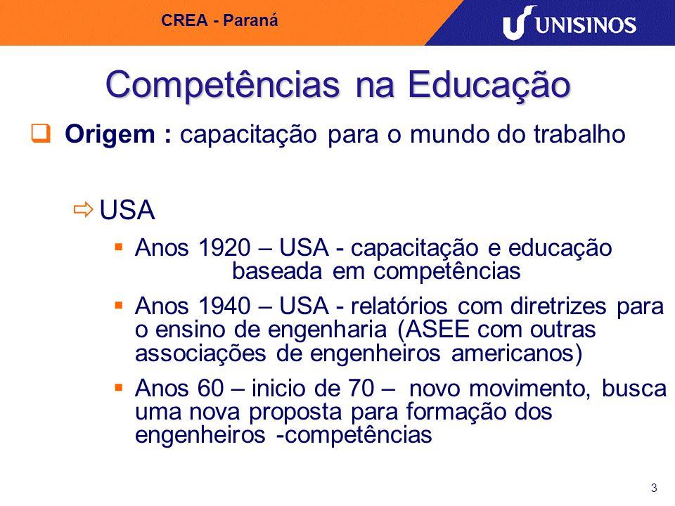 3 CREA - Paraná Competências na Educação Origem : capacitação para o mundo do trabalho USA Anos 1920 – USA - capacitação e educação baseada em competê
