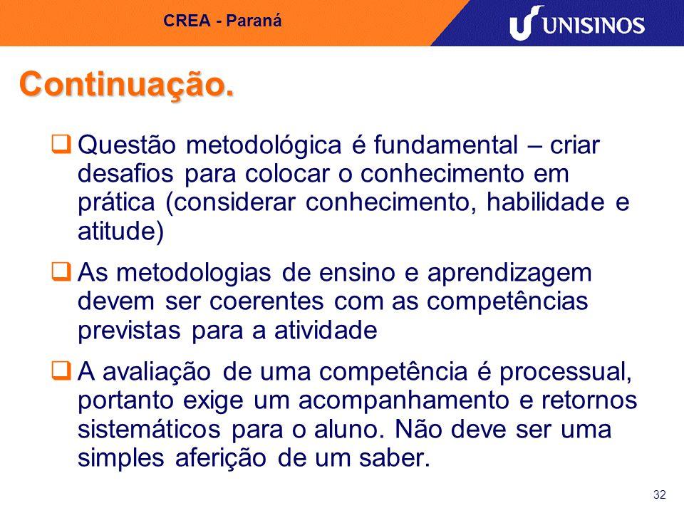 32 CREA - Paraná Continuação. Questão metodológica é fundamental – criar desafios para colocar o conhecimento em prática (considerar conhecimento, hab