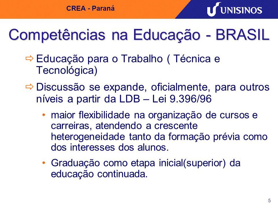 5 CREA - Paraná Competências na Educação - BRASIL Educação para o Trabalho ( Técnica e Tecnológica) Discussão se expande, oficialmente, para outros ní
