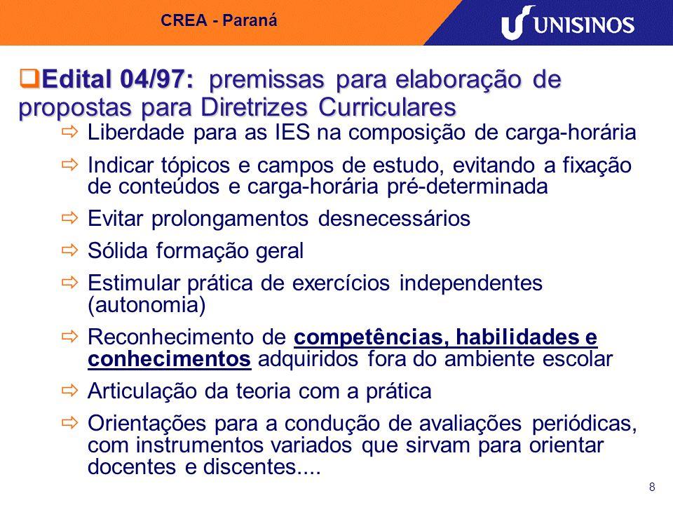 9 CREA - Paraná 1997/1998 - Propostas das Diretrizes Curriculares para os cursos de Engenharia -ABENGE Discussões sobre o desenvolvimento dos currículos por competências se intensificam Entendimento das competências - Pilares da UNESCO (1996) saber conhecer saber fazer saber ser saber conviver