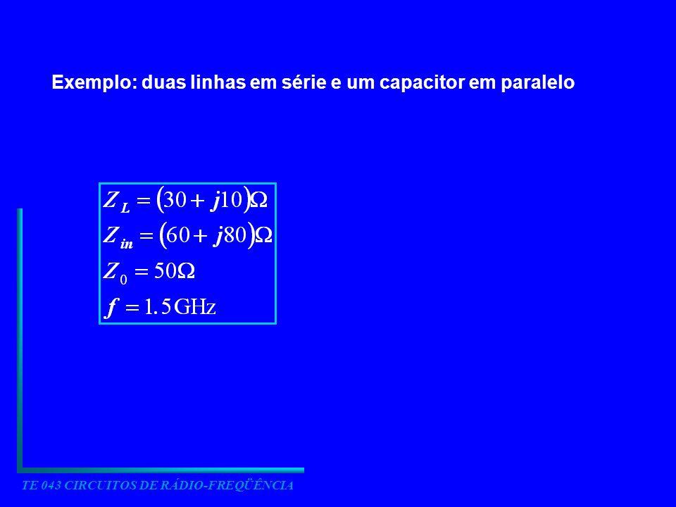 TE 043 CIRCUITOS DE RÁDIO-FREQÜÊNCIA Exemplo: duas linhas em série e um capacitor em paralelo