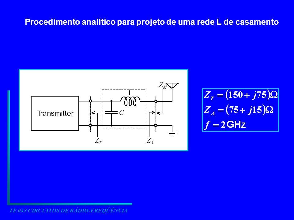 TE 043 CIRCUITOS DE RÁDIO-FREQÜÊNCIA Procedimento analítico para projeto de uma rede L de casamento