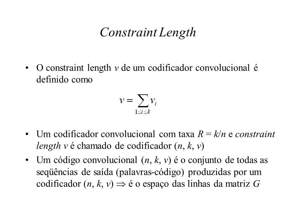Constraint Length O constraint length v de um codificador convolucional é definido como Um codificador convolucional com taxa R = k/n e constraint len