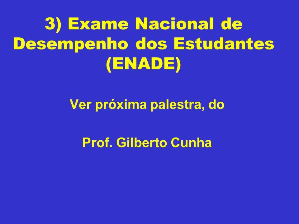 3) Exame Nacional de Desempenho dos Estudantes (ENADE) Ver próxima palestra, do Prof. Gilberto Cunha
