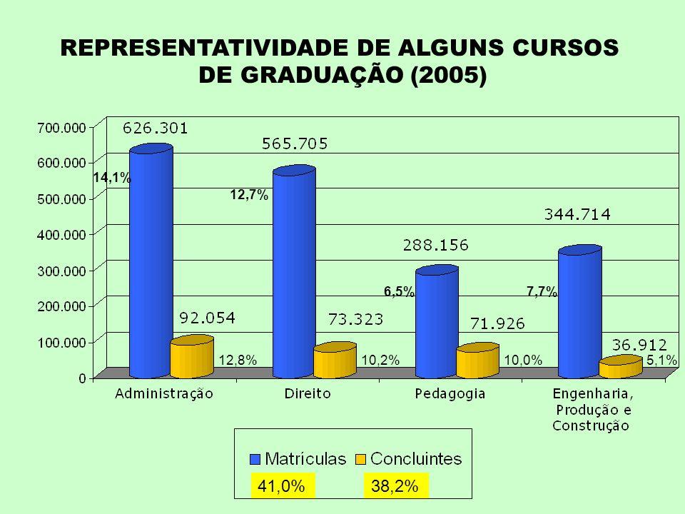 REPRESENTATIVIDADE DE ALGUNS CURSOS DE GRADUAÇÃO (2005) 14,1% 12,7% 6,5%7,7% 41,0%38,2% 12,8%10,2%10,0%5,1%