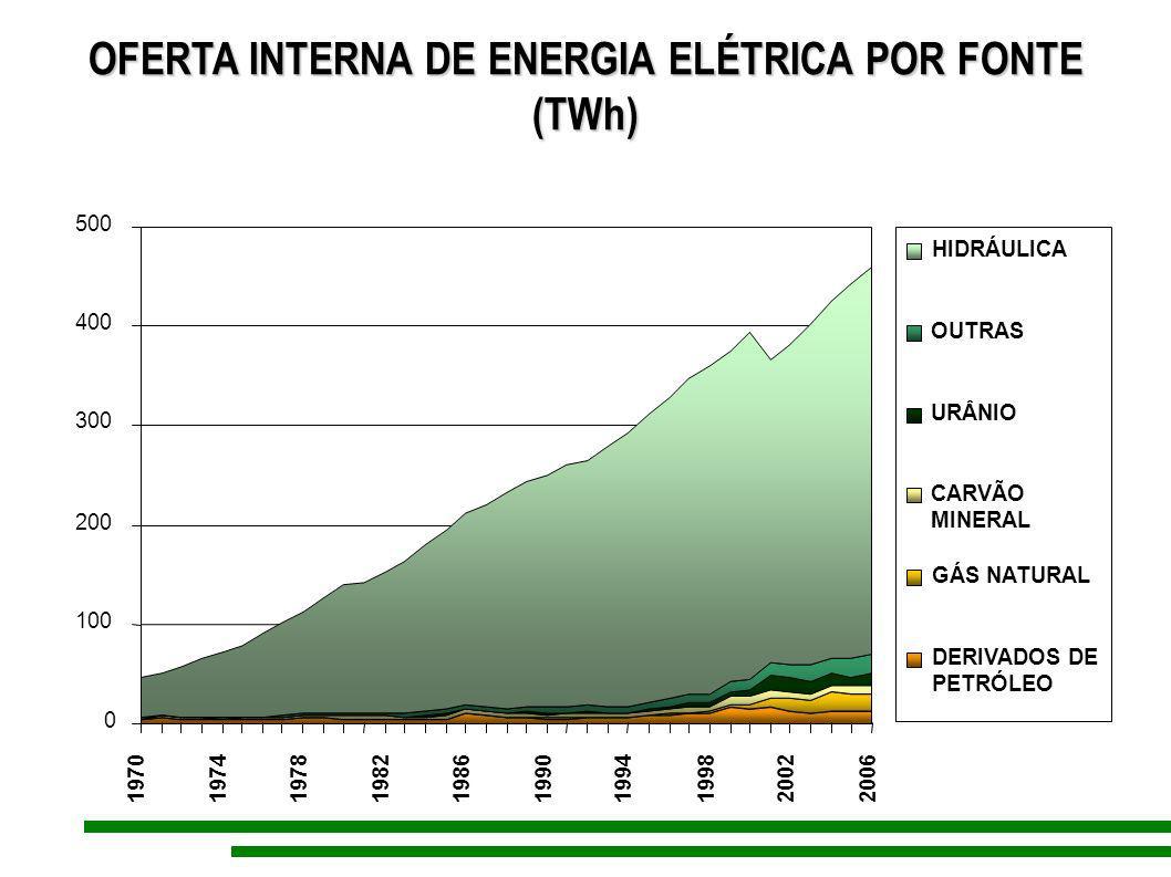 OFERTA INTERNA DE ENERGIA ELÉTRICA POR FONTE (TWh) (TWh) 0 100 200 300 400 500 1970 1974197819821986199019941998 20022006 HIDRÁULICA OUTRAS URÂNIO CAR