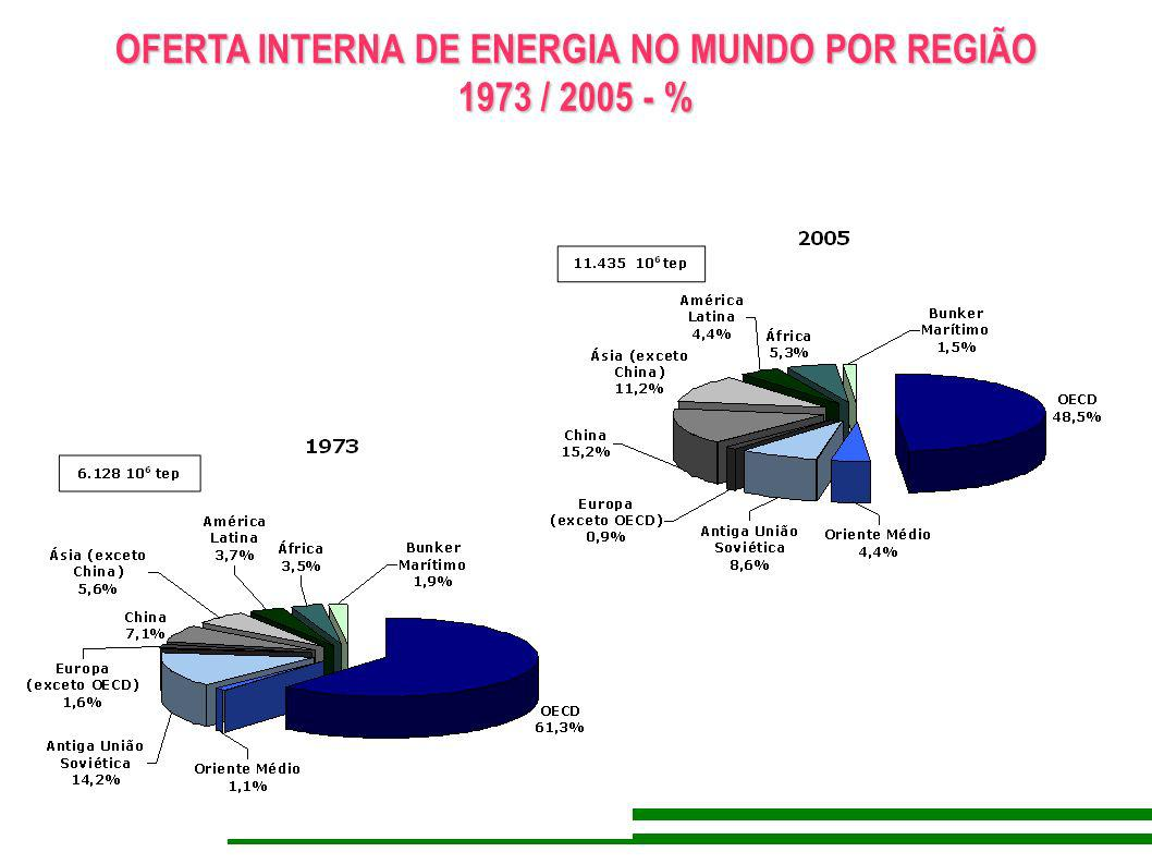 ENERGIA E POPULAÇÃO NO MUNDO 2004 % 49,1 34,4 18,3 4,3 12,8 14,5 13,7 20,5 4,3 5,8 7,0 5,2 9,2 13,7 2,9 8,7 13,4 4,5 0,6 0,9 11,5 10,1 32,2 0 20 40 60 80 100 DEMANDAPRODUÇÃOPOPULAÇÃO OECD RUSSIA ANTIGA AMÉRICAS SUL&CENTRAL CHINA ORIENTE MÉDIO EUROPA Ñ OECD 11.213 Mtep11.223 Mtep6.352 Mhab ÁSIA EXC.