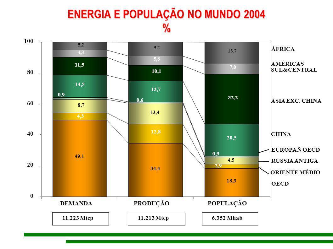 ENERGIA E POPULAÇÃO NO MUNDO 2004 % 49,1 34,4 18,3 4,3 12,8 14,5 13,7 20,5 4,3 5,8 7,0 5,2 9,2 13,7 2,9 8,7 13,4 4,5 0,6 0,9 11,5 10,1 32,2 0 20 40 60