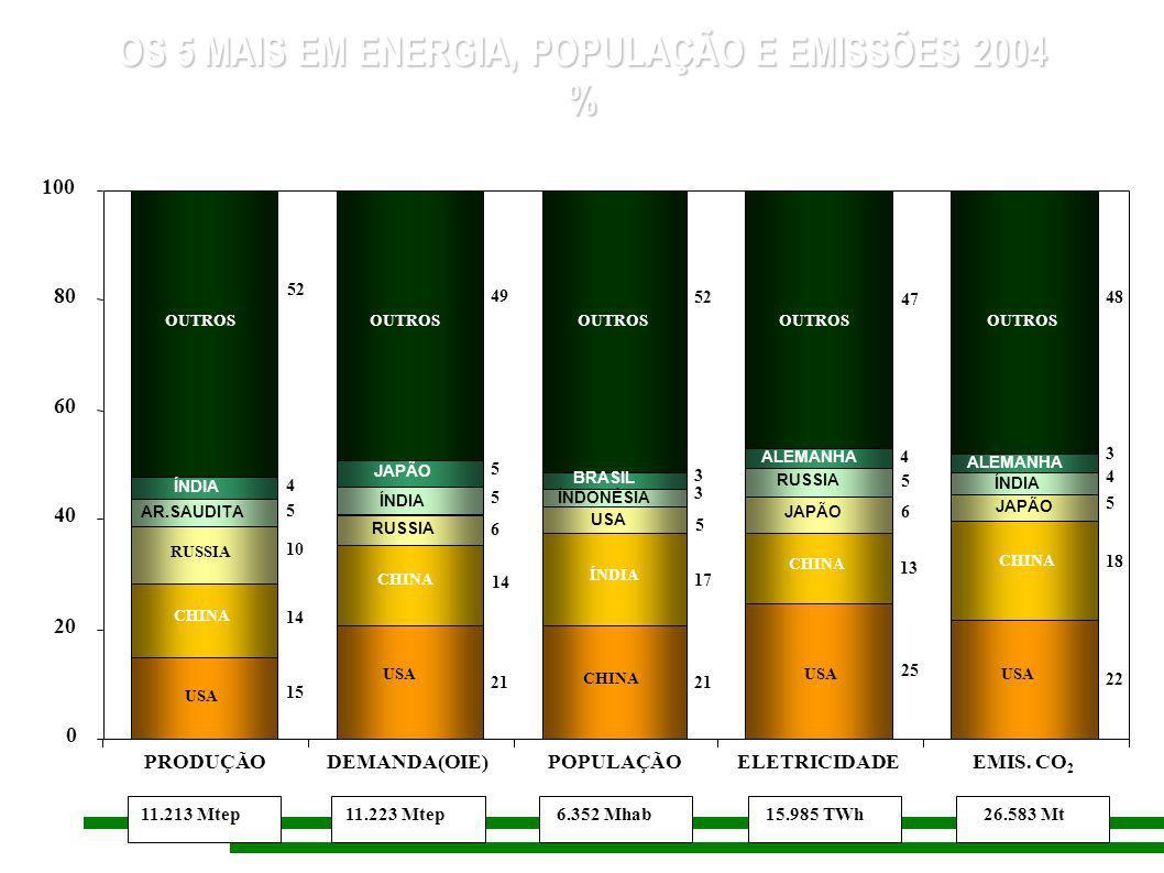 5,0 16,8 30,2 11,7 21,6 24,7 61,9 31,0 7,0 9,5 12,1 3,3 9,9 29,1 8,6 5,8 3,4 0 20 40 60 80 100 RESERVASPRODUÇÃOCONSUMO AMÉRICA NORTE ÁSIA PACÍFICO AMÉRICAS SUL & CENTRAL ÁFRICA ORIENTE MÉDIO EUROPA 81.088 kbbl/d1.201 Gbbl82.459 Kbbl/d DADOS MUNDIAIS DE PETRÓLEO – 2005 %