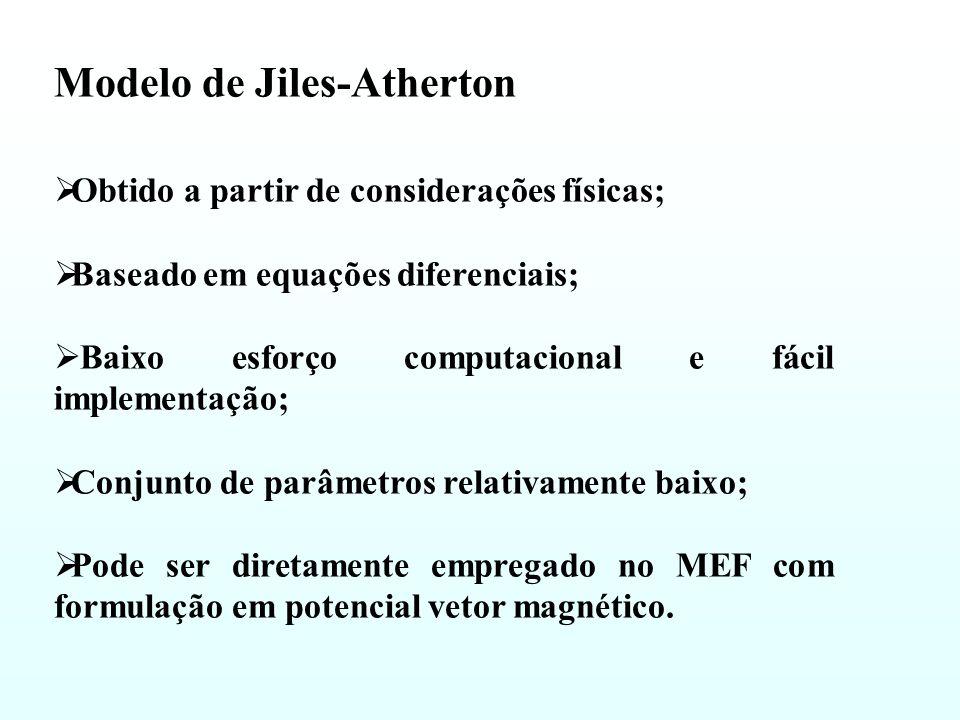 Obtido a partir de considerações físicas; Baseado em equações diferenciais; Baixo esforço computacional e fácil implementação; Conjunto de parâmetros relativamente baixo; Pode ser diretamente empregado no MEF com formulação em potencial vetor magnético.