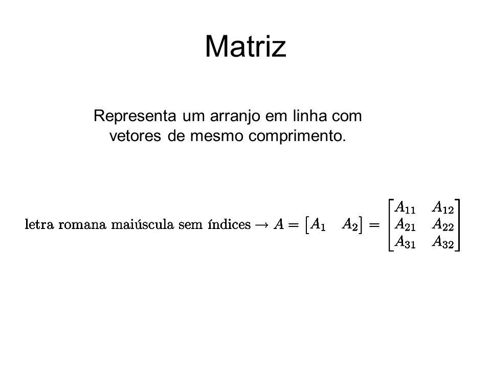 Matriz Representa um arranjo em linha com vetores de mesmo comprimento.