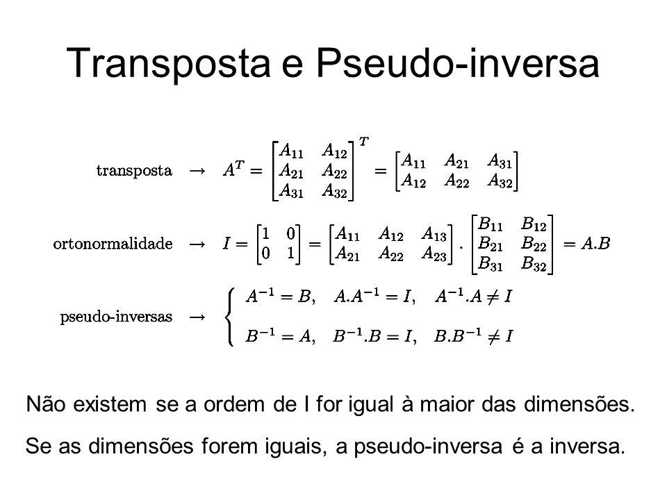 Transposta e Pseudo-inversa Se as dimensões forem iguais, a pseudo-inversa é a inversa. Não existem se a ordem de I for igual à maior das dimensões.