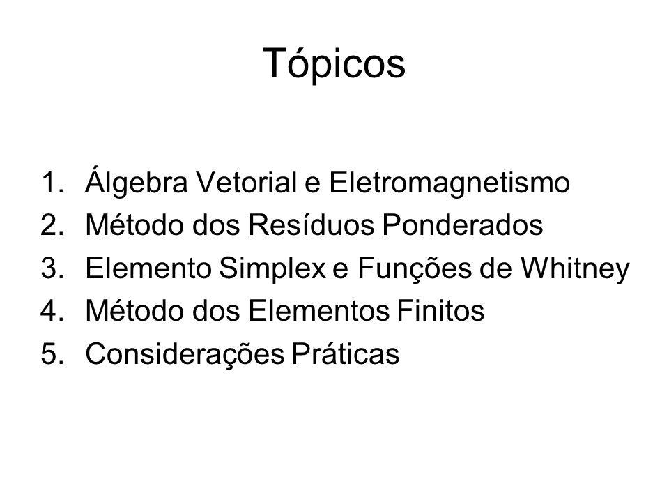 Tópicos 1.Álgebra Vetorial e Eletromagnetismo 2.Método dos Resíduos Ponderados 3.Elemento Simplex e Funções de Whitney 4.Método dos Elementos Finitos