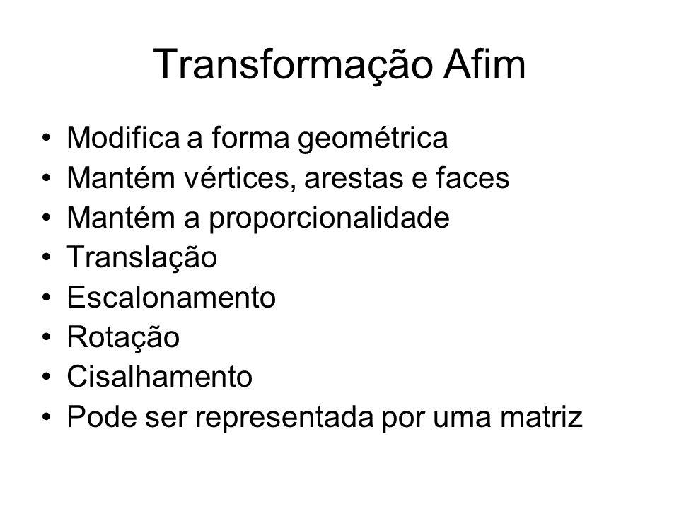 Transformação Afim Modifica a forma geométrica Mantém vértices, arestas e faces Mantém a proporcionalidade Translação Escalonamento Rotação Cisalhamen