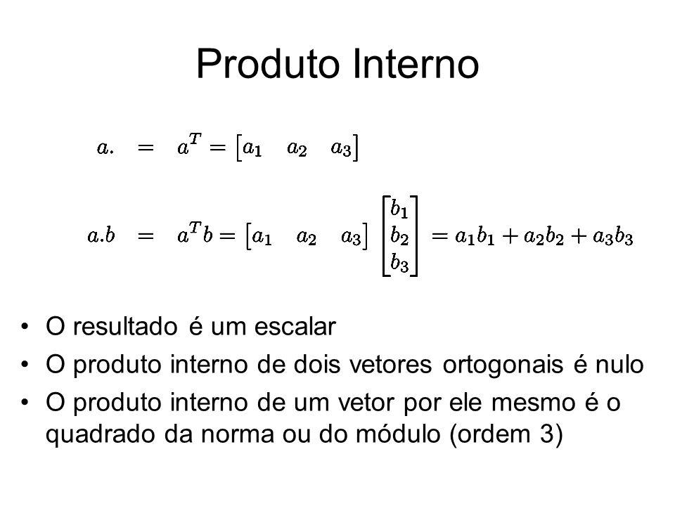 Produto Interno O resultado é um escalar O produto interno de dois vetores ortogonais é nulo O produto interno de um vetor por ele mesmo é o quadrado