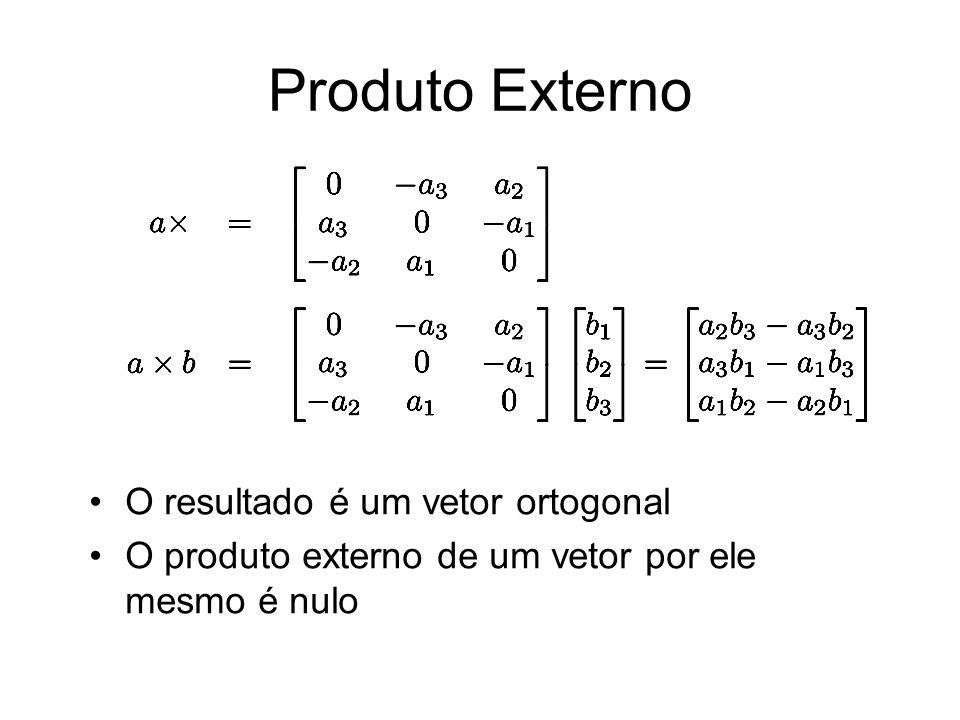 Produto Externo O resultado é um vetor ortogonal O produto externo de um vetor por ele mesmo é nulo