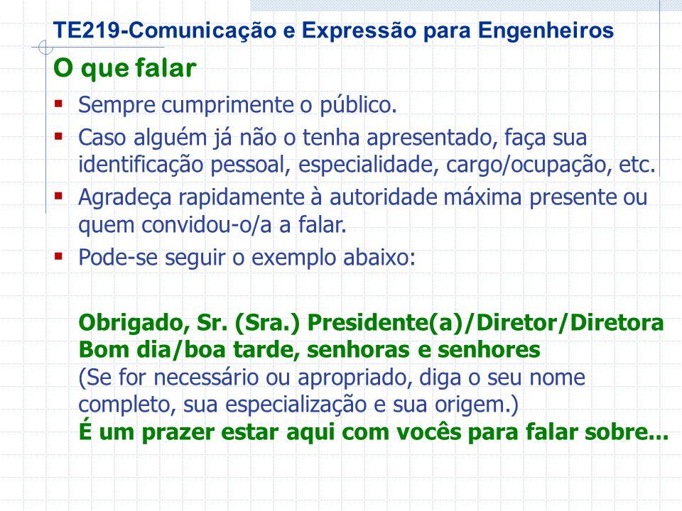 TE219-Comunicação e Expressão para Engenheiros O que falar Sempre cumprimente o público.