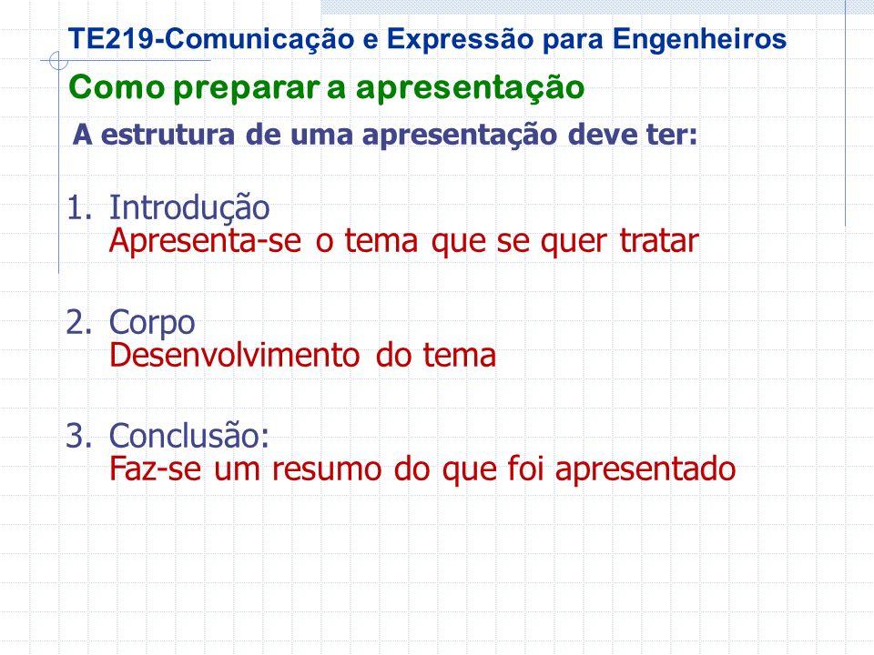 TE219-Comunicação e Expressão para Engenheiros Como preparar a apresentação A estrutura de uma apresentação deve ter: 1.Introdução Apresenta-se o tema que se quer tratar 2.Corpo Desenvolvimento do tema 3.Conclusão: Faz-se um resumo do que foi apresentado