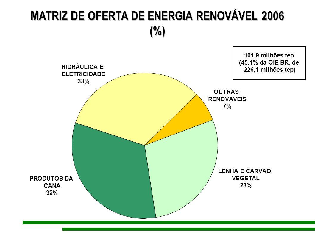MATRIZ DE OFERTA DE ENERGIA RENOVÁVEL 2006 (%) PRODUTOS DA CANA 32% HIDRÁULICA E ELETRICIDADE 33% LENHA E CARVÃO VEGETAL 28% OUTRAS RENOVÁVEIS 7% 101,