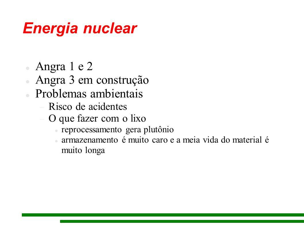 Energia nuclear Angra 1 e 2 Angra 3 em construção Problemas ambientais Risco de acidentes O que fazer com o lixo reprocessamento gera plutônio armazen